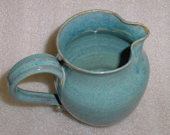 Wheel Thrown Pottery Pitcher in Speckled Blue