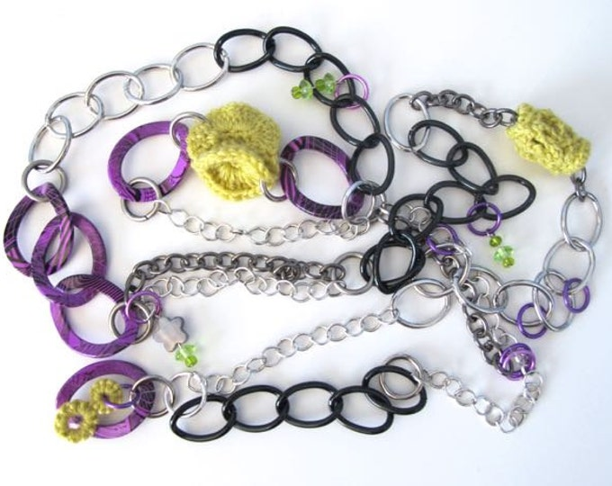 "Fiberpunk™ Necklace - Chartreuse and Violet - Extra Long 25"" / Fiber Jewelry / Crochet Jewelry / Tatted Jewelry"