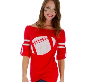 RED Old School No Shoulder Football Sweatshirt.  You Choose Football Color.  Sizes S-XL.