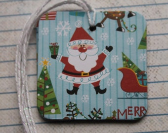 10 Christmas Tags Santa, Reindeer, Trees patterned paper over chipboard 2 x 2 inches