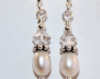 Genuine Pearl, Swarovski Crystal, Sterling Silver Earrings, Real Freshwater Cultured Pearls, Ready To Ship, Shimmer Shimmer
