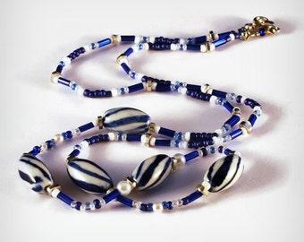 Ceramic Necklace Blue and White Beads Ceramique, Sarahbushka, Art Careers