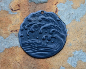 Vintaj Arte Metal (Black) 25.5mm Ocean Surf Pendant