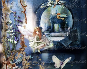 Fairy Garden Digital Collage Greeting Card (Suitable for Framing)