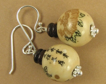 Chinese ceramic earrings. Brown. Chinese characters. Sterling silver 925