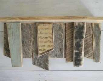 Rustic wood shelf, recycled wood shelf, vintage book pages, primitive wood shelf, distressed paint shelf