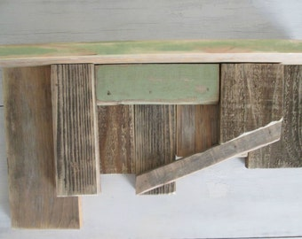 Rustic wood shelf furniture primitive recycled farm house scrap art shelves