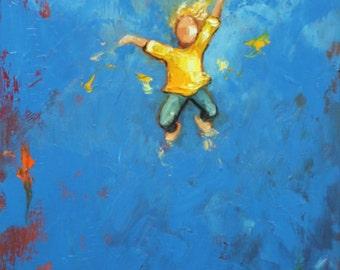 Leap painting 475 16x20 inch original portrait figure oil painting by Roz