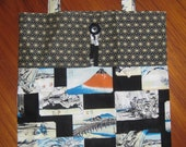 Tuck and Roll Fold-Up Portable Shopping Tote Japanese Hokusai Woodblock Prints Design Black