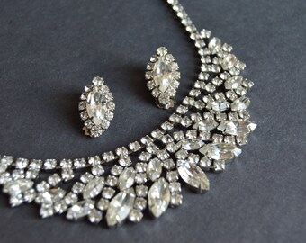 Weiss Clear Rhinestone Demi Parure {Marquise Statement Necklace and Earrings Bridal Jewelry Set Old Hollywood Glam 1950s Gift for Her}