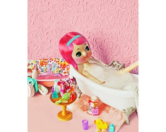 pose doll bathroom print 5 x 7 SOAKING UP The CUTE