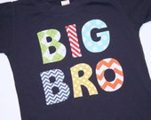 BIG BRO Big Brother Shirt in primary color chevrons argyle and dots - White or Navy shirt - Sizes 6-12m, 12-18m, 2, 4, 6