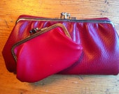 vintage  wallet and coin purse for you and one for your friend 2  red wallet leather coin not