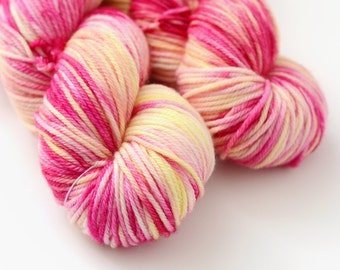 Hand Dyed Worsted Yarn - Snapdragon - Pink and Yellow - Variegated - Flowers