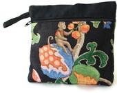 Monkey Elephant Makeup Organizer , Clutch Purse , Zipped Pouch , Makeup Bag , Travel Bag , Purse Organizer , Wallet , Cosmetic Clutch