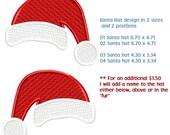Custom Embroidery APPLIQUE SANTA Hat 2 sizes