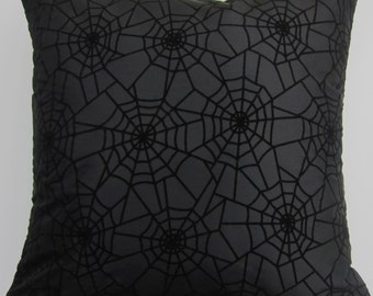 Black Pillow Cover with Spider Webs -- Spiderweb Halloween Pillow Cover -- 18 x 18