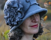 Flapper Hat - Organic Cotton and Hemp Fleece - Hand Dyed - Charcoal - Organic Charlotte