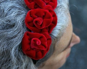 Fascinator Headband - Red Velvet - Hand Dyed Silk Velvet Roses