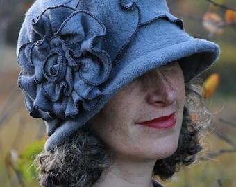 Flapper Hat - Organic Cotton and Hemp Fleece - Hand Dyed - Charcoal - Organic Charlotte