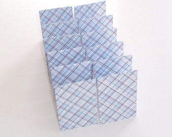 Mini Cards 12 Silver Blue Plaid  - blank for thank you notes - 2 x 3