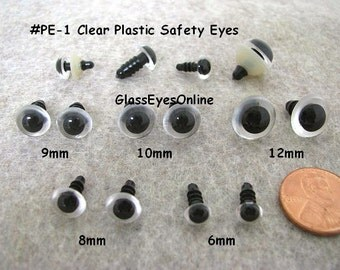 20 PAIR Assorted Size 6mm to 12mm Safety Eyes Clear Eyes For Do It Yourself Crafters to Paint on Backs Use in Sew, Crochet(CLPE-1)