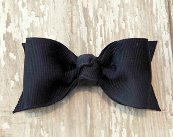 Navy Tuxedo Style Toddler Hair Bow 3 Inch Alligator Clip Baby Hairbow Navy Baby Bow Navy Toddler Bow Navy Toddler Hair Bow