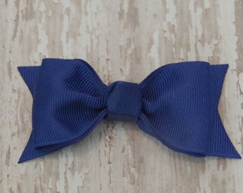 Royal Blue Tuxedo Style Toddler Hair Bow 3 Inch Alligator Clip Baby Hairbow