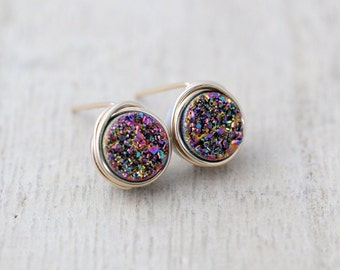Druzy Studs, Petite Rainbow Titanium Druzy Quartz  Bezel Wrapped Post Earrings, Modern Minimalist Fashion - Unicorn