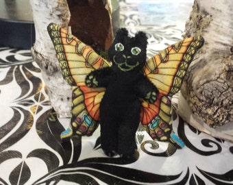 Tiny Mini Black Cat Doll Totally Flealess Too Cute For Your Plush Cuteness Collection Made By Tessimal