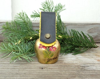 Vintage Hand painted Brass Bell, Small Bell with Leather Strap,  Zermalt