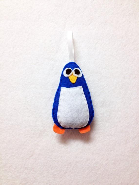 Penguin Ornament, Christmas Ornament, Felt Penguin, Ruben the Blue Penguin, Felt Animal, Winter