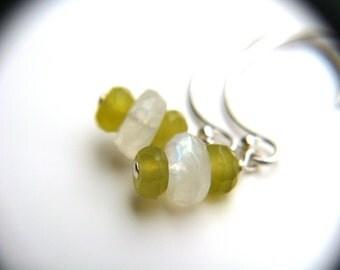 Green Jade Earrings . Healing Jewelry . Love Stones Earrings . Rainbow Moonstone Earrings . Dainty Dangle Earrings - Kukicha Collection