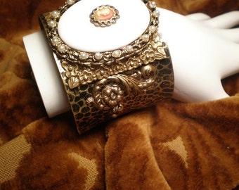 Vintage Cameo Cuff Bracelet, Cameo Cuff, Leopard Bracelet, Milk Glass, Gold Bracelet, Victorian Bracelet, VictorianFlourishes, Cameo, Pearls