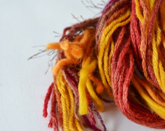 Autumn Leaves Yarn Art Fringe Kit, Red, Pink, Orange, Brown. Yarn Bundle for Fiber Arts, Scrapbooking, Crafts. DIY Yarn Kit, 20+ Yds. Set 3