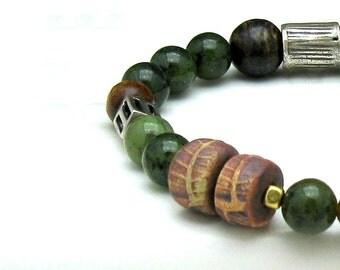 Green Jade Boho Woodland Beaded Bracelet Boutique Wearable Art
