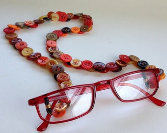 Eyeglass Chain in Vintage Buttons - Oranges, Reds, Golds and Browns