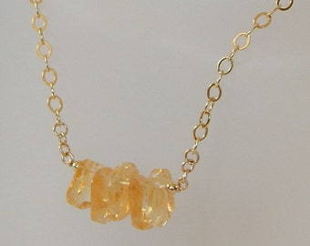 Citrine Nugget Necklace Gold Necklace Crystal Necklace Citrine Bar Necklace Gemstone Necklace November Birthstone