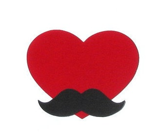 Red Heart And Mustache// Felt & Fabric Iron On Appliques//With Or Without Mustache