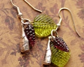 Grapevine Earrings, Wine Earrings, Grape Earrings, Purple earrings, Wine Charm Jewelry, Wine Bottle Jewelry, Vineyard Jewelry, SRAJD