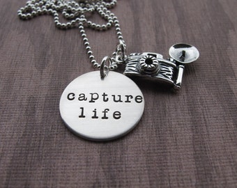 Capture Life Necklace Photographer Camera Charm by Kristen's Custom Creations Ready to Ship
