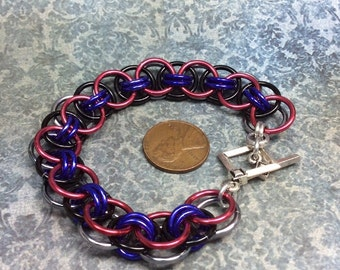 chainmaille bracelet -Reversible silver, black and purple on one side and red, purple and black on the other-