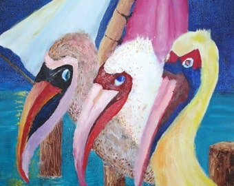 Original Art - Pelicans in Love Triangle