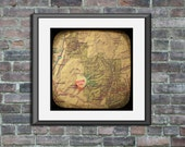 Adore me Zion national park custom wall art candy heart map art ttv photo print personalized gift home decor