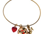 Love Dagger, Cupid Charm and Red Heart Bracelet Valentine or Any Time