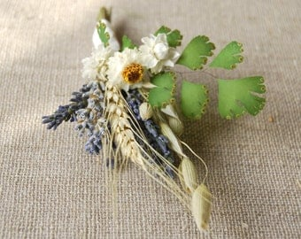 Boutonniere or Corsage of Dried Lavender, Daisies, Ferns, Oats and Green Wheat