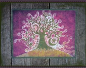 Tree on a Hill Batik Print Patch