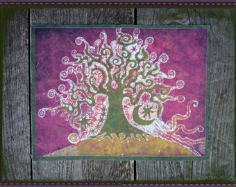 Tree on a Hill Batik Print Patch