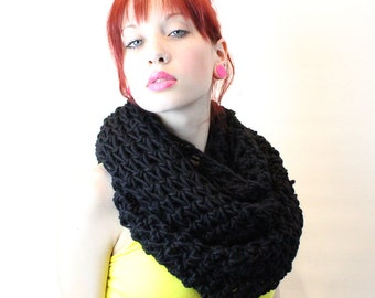 The Favorite Cowl neck hood scarf circle eternity Jet Black wool