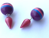 2 Sided Earrings - vintage spike lucite studs - striped purple and cranberry posts - #DS-10PU